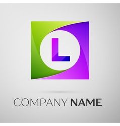 Letter l logo symbol in the colorful square on vector