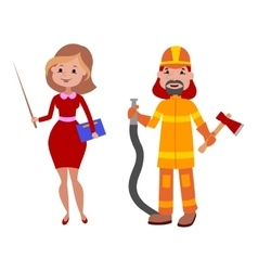 People teacher and firefighter different vector