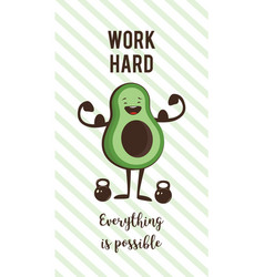 Poster of happy avocado exercise ad heavy lifting vector
