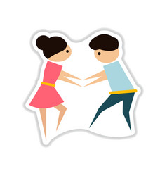 Paper sticker on white background pair of dancers vector