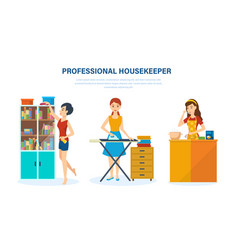Housewife kitchen bedroom engaged home affairs vector