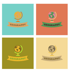 Assembly flat icons geography lesson vector