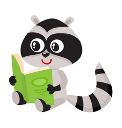 Cute little raccoon student character reading an vector