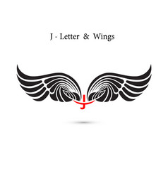J-letter sign and angel wingsmonogram wing logo vector