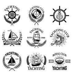 Set of yachting emblems isolated on white vector