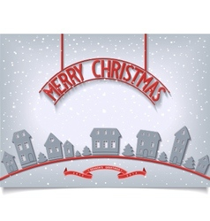 Merry christmas card with red signboard lettering vector