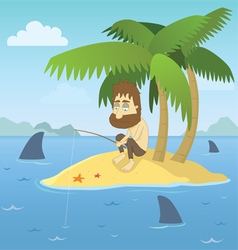 Shipwrecked guy vector