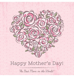 Pink card with heart of flowers for mothers day vector