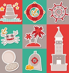 Sticker set vintage nautical card and seamless vector