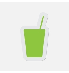 Simple green icon - drink with straw vector