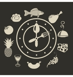 Clock and different dishes menu vector