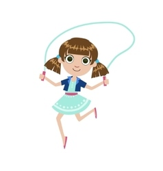 Girl with the skipping rope vector