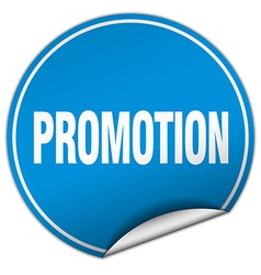 Promotion round blue sticker isolated on white vector