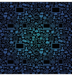 seamless pattern with social media and technology vector image