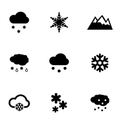 Black snow icon set vector
