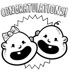 Baby congratulations doddle vector image