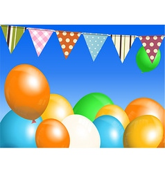 Balloons and bunting over blue sky vector
