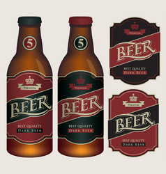 beer labels for two glass bottles vector image vector image