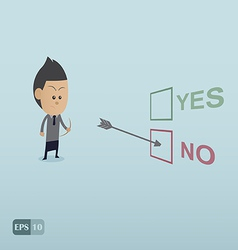Business man choose no by the archer vector