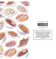 Chinese noodles poster with asian dishes vector