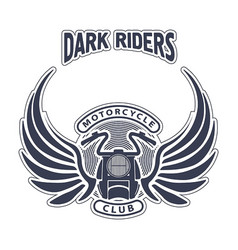 Dark riders motorcycle club design for emblem or vector