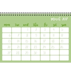 Desk calendar template for month March Week vector image