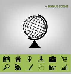 Earth globe sign black icon at gray vector