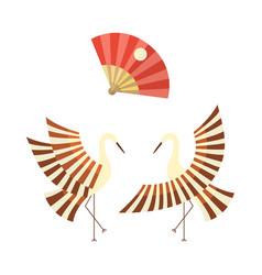 flat cartoon japan cranes flapping wings vector image vector image