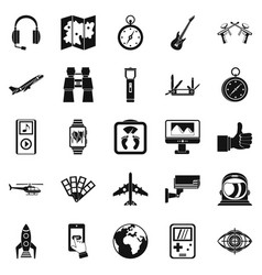 Flight icons set simple style vector