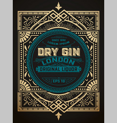 Gin label with floral frame vector
