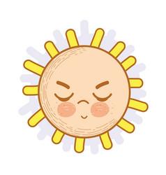 Kawaii angry sun icon vector