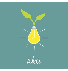 Lump bulb with green leafs ECO energy idea concept vector image