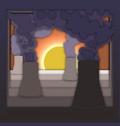 nuclear energy concept with power plant with smoke vector image