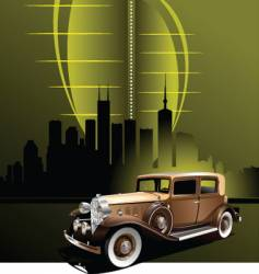 retro car in futuristic town vector image