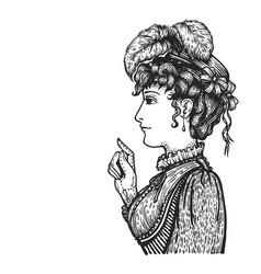 Retro woman portrait vector