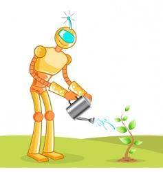 Robot gardening vector