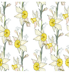 Seamless floral decorative pattern with white vector