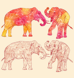 set of elephants with decorative floral pattern vector image vector image