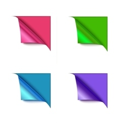 Set of four paper corner folds isolated on color vector image vector image