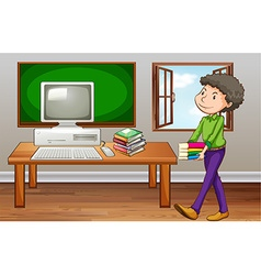 Student carrying books in class vector
