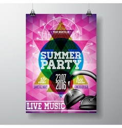Summer Beach Party Flyer Design with headphone vector image