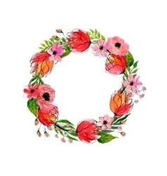 Watercolor flowers wreath vector