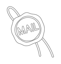 Wax sealmail and postman single icon in outline vector