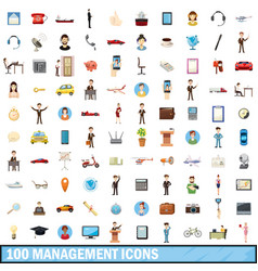 100 management icons set cartoon style vector image vector image