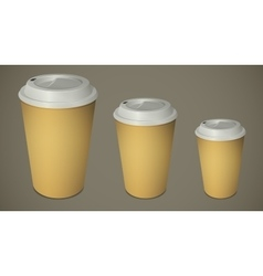 Three take-out coffee cups with caps vector