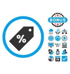 Discount tag flat icon with bonus vector
