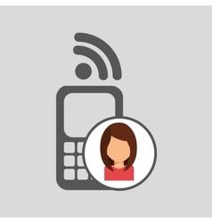 Girl character wifi cellphone vector