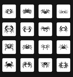 various crab icons set squares vector image