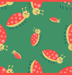 Cute ladybug cartoon red insect nature bug vector