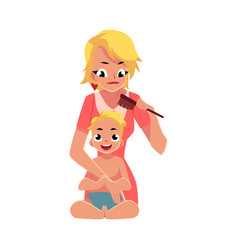 Young mother combing her baby s hair half length vector